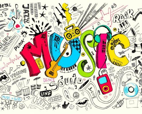Header image music doodles